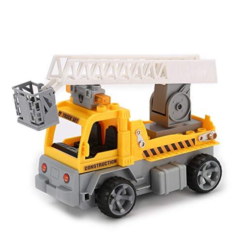 Didasong 1/18ビルディングブロックエンジニアはしごトラック車のレンガ教育贈り物おもちゃ 黄 1801