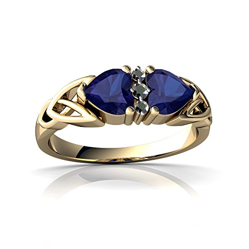 14kt Diamond Trinity Knot Ring - 14kt Yellow Gold Lab Sapphire and Diamond 5mm Heart Celtic Trinity Knot Ring - Size 9