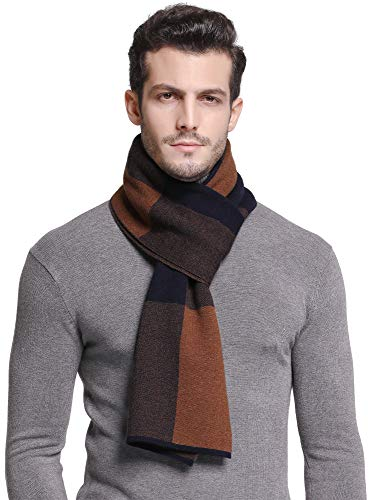 RIONA Men's 100% Australian Soft Merino Wool Knitted Plaid Warm Scarf
