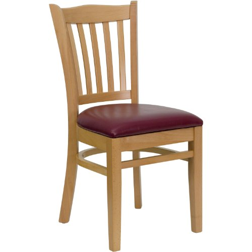 MFO Natural Wood Finished Vertical Slat Back Wooden Restaurant Chair - Burgundy Vinyl Seat