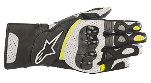 Sp2 Gloves - SP-2 v2 Leather Motorcycle Riding Glove (L, Black White Yellow Fluo)