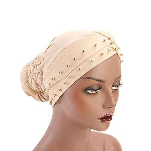 Qianmome India Caps Turban Bandana Braided Headwrap African Point Drill Milk Silk Head Wrap ()