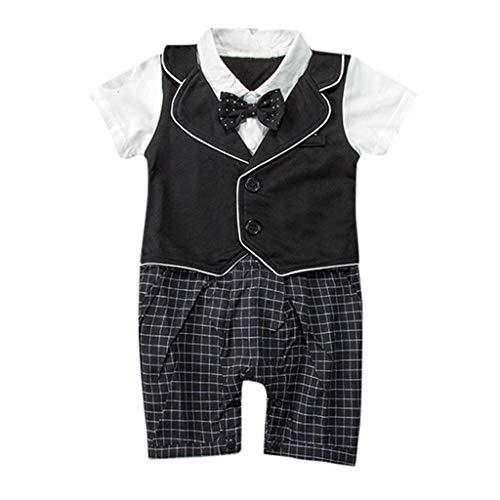 Baby Boy Gentleman White Shirt Bowtie Tuxedo Onesie Jumpsuit Overall Romper(0-18M)]()