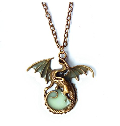 JEWSUN Magical Dragon Glow in the Dark Openwork Pendant Necklace (Dragon)