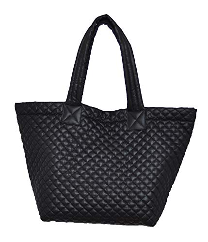 - ClaraNY Comfortable Light weight quilted Tote with pouch Water Repellent Black