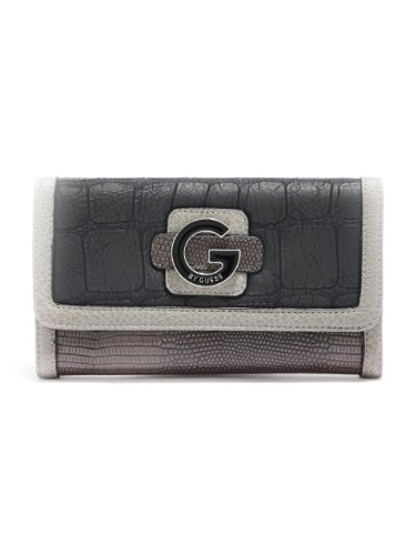G by GUESS Women's Laudie Checkbook Wallet, BLACK MULTI