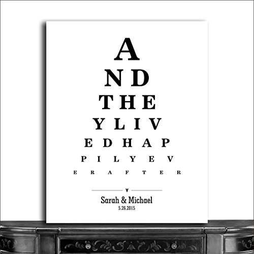 9.5x12 Metal Art Print Personalized Gift For Couple And They Lived Happily Ever After Word Design Eye Chart on White Background Custom Metal Tin Wedding Art Print