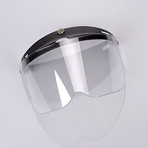 Clear 3-Snap Flip Up Full Shield Visor Universal Motorcycle Open Half Face Helmet Anti Fog-Coating UV Protection Motorcycle Helmet Shield