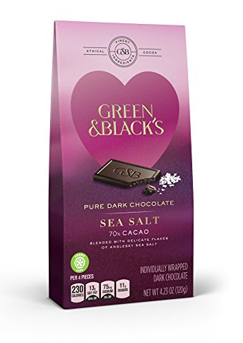 Green & Black's Valentine's Day Sea Salt 70% Cacao Chocolate Candy, 8 Count
