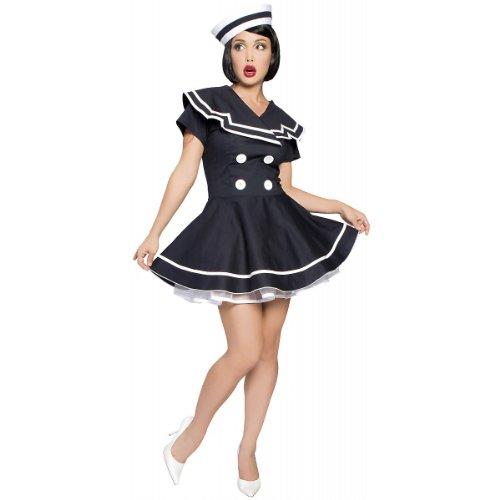 Roma Costume 2 Piece Pin-Up Captain Costume, Navy Blue, Small/Medium