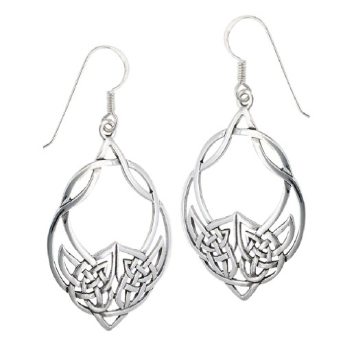 .925 Sterling Silver Unique Large Celtic Knot French Wire (Sterling Silver French Wire Earrings)