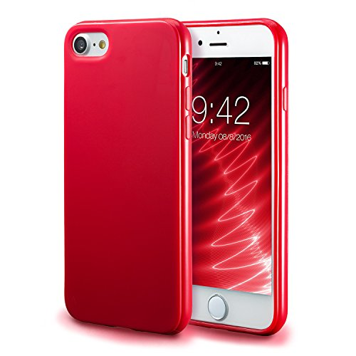 (iPhone 7 Red Case/iPhone 8 Red Case, technext020 Shockproof Ultra Slim Fit Silicone TPU Soft Gel Rubber Cover Shock Resistance Protective Back Bumper for iPhone 7 / iPhone 8 Red)