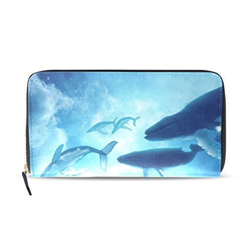 Womens Wallets Whales Dream Angel Leather Passport Wallet Coin Purse Girls Handbags ()