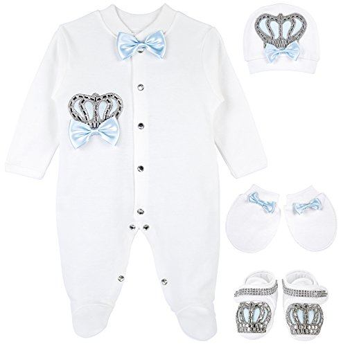 Lilax Baby Boy Jewels Crown Layette 4 Piece Gift Set 0-3 Months Blue