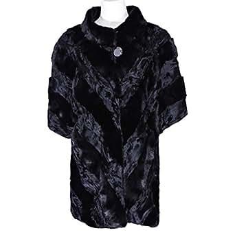 Swakare Black Fur Babydoll Coat For Women