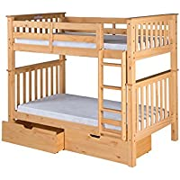 Camaflexi Santa Fe Mission Tall Bunk Bed Attached Ladder with Under Bed Drawers, Twin over Twin, Natural