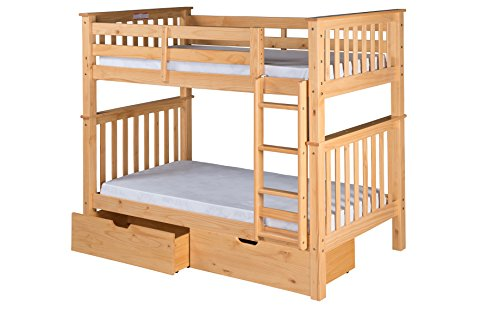 Santa Fe Ladder - Camaflexi Santa Fe Mission Tall Bunk Bed Attached Ladder with Under Bed Drawers, Twin over Twin, Natural