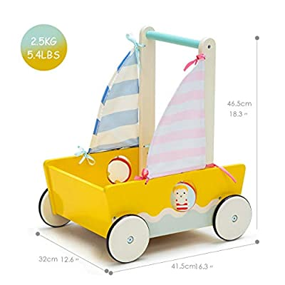 Yellow Blue Aircraft Wooden Baby Push Walker - 2-in-1 Toddler Push & Pull Toys Learning Walker Stroller Walker with Wheels for Baby Girls Boys 1-3 Years Old : Baby