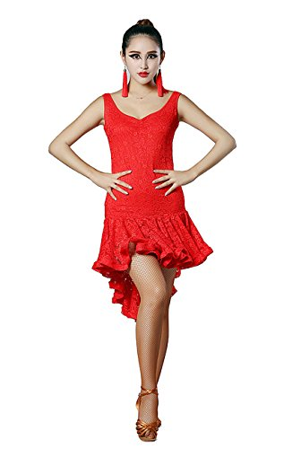 Ballroom Swing Dance Costumes (SFD007 Latin Rhythm Salsa Swing Dance Costume Dress (US8(XL), Red))