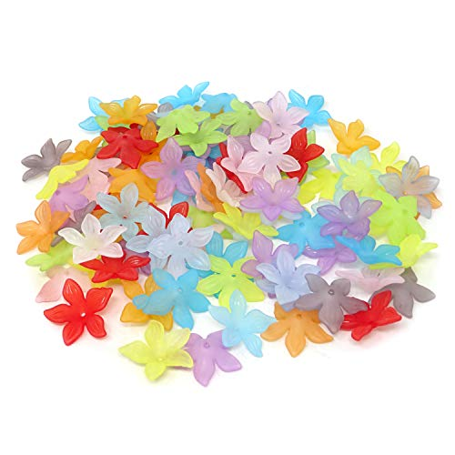 Honbay 100PCS 29mm Assorted Color Acrylic Beads Frosted Lily Flower -