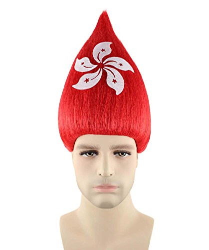 Hong Kong National Costume Kids (Halloween Party Online Hong Kong National Flag Troll Wig, Adult HM-165)