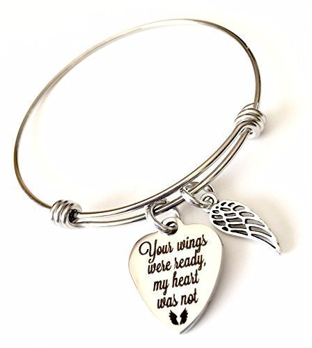 Memorial Jewelry, Your Wings Were Ready My Heart Was Not Expandable Bangle Bracelet