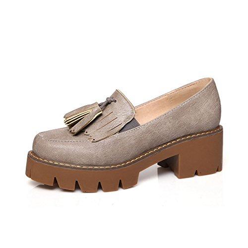 AgooLar Damen Ziehen auf PU Rund Zehe Mittler Absatz Rein Pumps Schuhe Grau