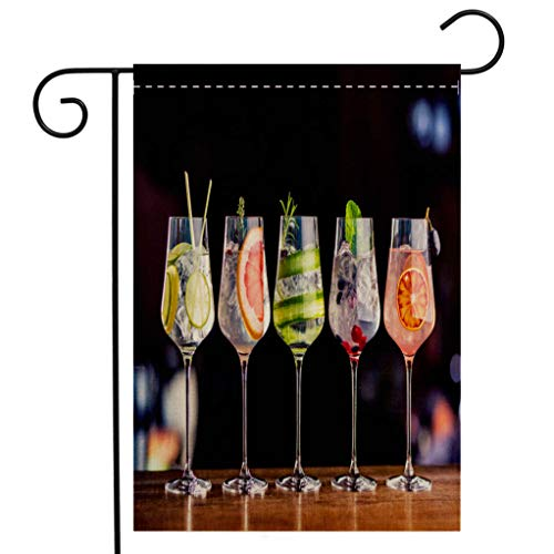 BEIVIVI Creative Home Garden Flag Five Colorful Gin Tonic Cocktails in Wine Glasses on bar Counter in pup or Restaurant Welcome House Flag for Patio Lawn Outdoor Home Decor