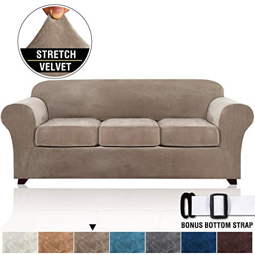 Real Velvet Plush 4 Pieces Sofa Slipcovers for Living Room, Thick Velvet Sofa Covers for 3 Cushion Couch, High Stretch Furniture Covers for 3 Seat Sofas, Machine Washable (Sofa, Taupe)