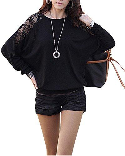 Mujeres Atractivas Fuera del Hombro Top Casual Blusa Encaje Crochet Chiffon Shirt Negro