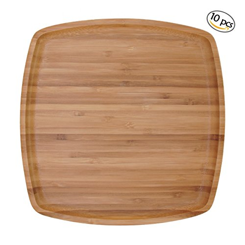 BambooMN 10'' x 10'' Bamboo Ecoware Reusable Dinnerware Square Plates for Catered Events, Holidays, or Home Use Supplies, 10 Pcs by BambooMN