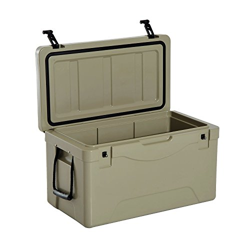 Outsunny 64 Quart Rotomolded Outdoor Portable Camping Cooler and Ice Chest Box