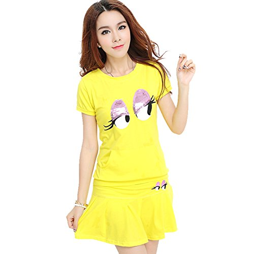 VOGUE CODE Spring and Summer Suits Teenager's Casual Wear Two-piece Tennis Athletic Skirt (yellow)