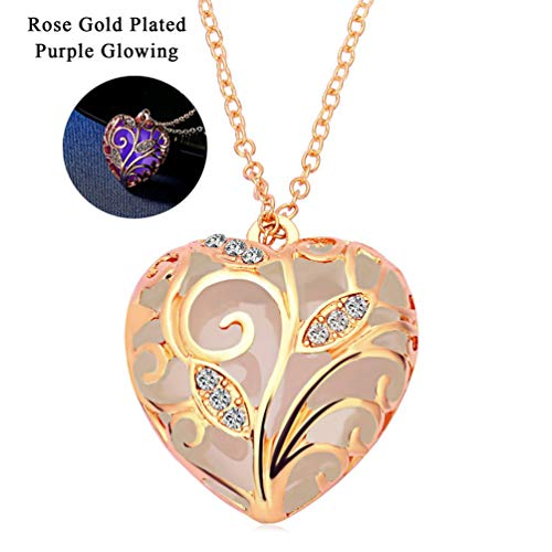 Glow Pendant Necklace - RINHOO Steampunk Magical Fairy Glow in The Dark Heart Charms Pendant Necklace White Gold Plated (Rose Gold-Purple)