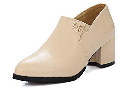 AllhqFashion Damen Rein Mittler Absatz Spitz Zehe Stiefel mit Schleife, Aprikosen Farbe, 38
