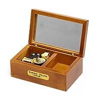 Caja musical de madera con espejo YouTang de 18 notas, Movimiento musical dorado, Modelo M33 (Madera, Melodía: Lilium de Elfen Lied)