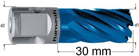 HSS-XE+DURABLUE-beschichteter Kernbohrer, Edelstahlbohrer, Nitto/Uni-Schaft, Nutzlänge 30 mm, Blue-Line30, Ø d=1-3/8'