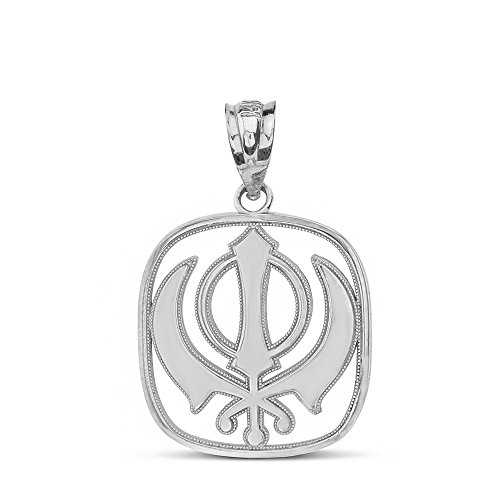 925 Sterling Silver Sikh Khanda Kirpan Sword Symbol Religious Pendant
