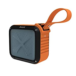 Ancord Bluetooth Shower Speaker with FM Radio Waterproof IPX6, Portable for Outdoor 12 Hours Playtime 5W Audio Driver, with Silicon Strap for Hanging, for Hiking/Camping/Fishing/Cycling/Picnics Orange