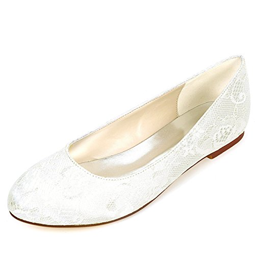 Dress Platform Round Lace 0 Mid Heels Ivory Women Chunky Kitten 6cm L Shoes Bridesmaids Head YC High Wedding Satin WHxSFqz
