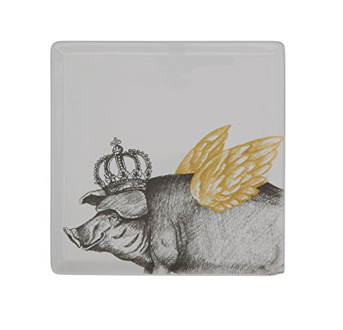Creative Co-Op Pig with Wings & Crown Square Ceramic Plate