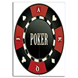 Door Curtain(Two Panels) Print,Poker Tournament,Casino Chip with Poker Word in Center Rich Icon Card Suits Decorative,Army Green Vermilion White,3D Print Design,W43.3 xH47.2
