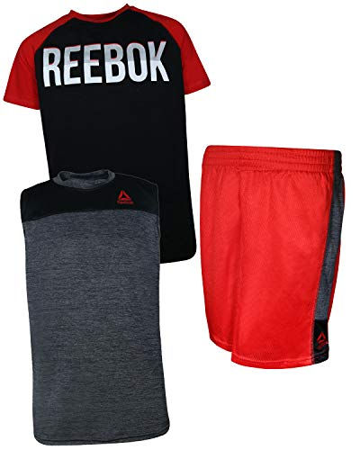 Reebok Boys\' 3 Piece Athletic T-Shirt, Tank Top, and Short, True Red, Size 10'