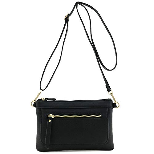 Multi-functional Wristlet Clutch and Crossbody Bag Black