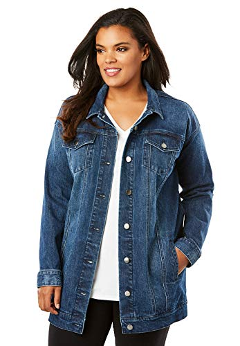 Roamans Women's Plus Size Boyfriend Denim Jacket - Dark Wash, 22 W (Romans Coats)