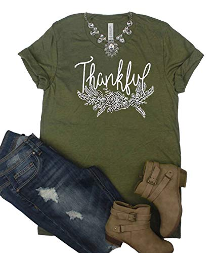f432286c DUTUT Thankful Floral Print Thanksgiving T Shirt Womens Leaves Printed  Short Sleeve Fall Graphic Tee Shirts