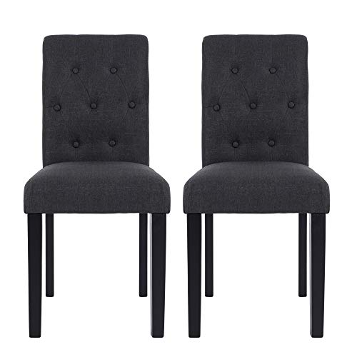 NOBPEINT Fabric Dining Chairs with Solid Wood Legs Set of 2, Charcoal