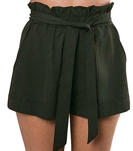 Alta Pantaloni Bende Estivo Pantaloncini Unita A Hot Verde Pants Con Vita Casual Moda Donne Shorts Tinta p8FwX