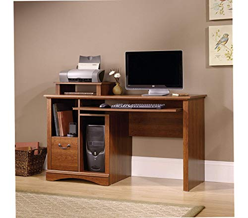 "Sаudеr Deluxe Premium Collection Camden County Computer Desk L: 53.54"" x W: 20.28"" x H: 34.57"" Planked Cherry Finish Decor Comfy Living Furniture"