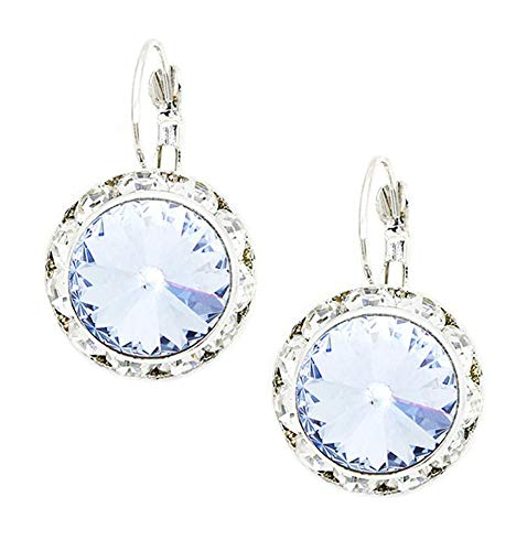 "nestone Dangle Drop Earrings, Clear Rhinestone Border, 1"" Long, 1/2"" Diameter ()"